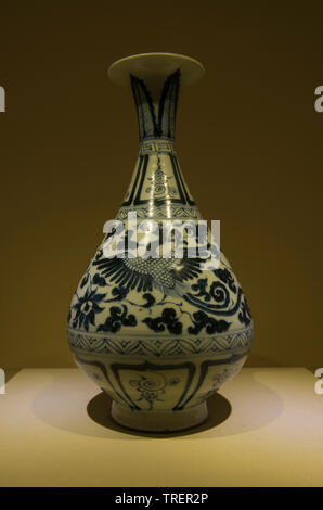 Blue-and-white pear-shaped vase with double-phoenix design made in Jingdezhen. Yuan dynasty, 1271-1368 CE. National Museum of China - Stock Image
