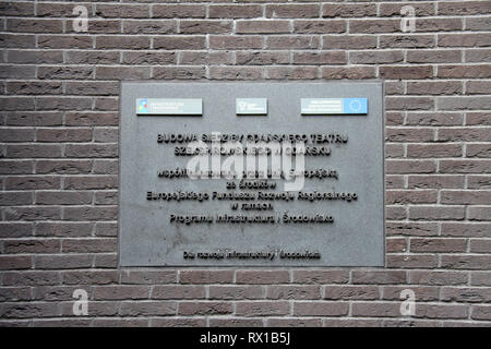 Gdansk Shakespeare Theatre Plaque - Stock Image
