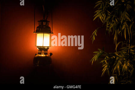 Light lantern on the wall next to a tree at night for a background - Stock Image
