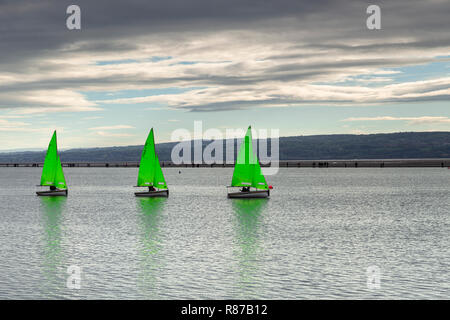 Dinghies sailing on the Marine Lake at West Kirby, Wirral, England - Stock Image