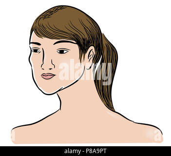 Head of woman.  illustration of beautiful face of woman. illustration of beautiful girl. - Stock Image