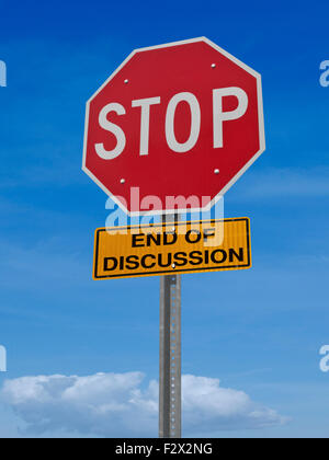conceptual road sign stop, end of discussion over blue sky - Stock Image