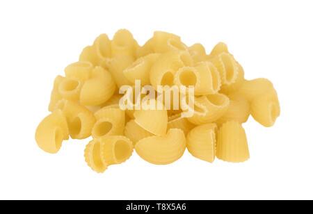 Handful of macaroni close up isolated on white background - Stock Image