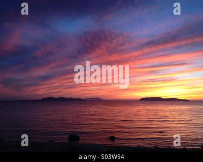 Sunset at sea with Islands view,Sicily - Stock Image