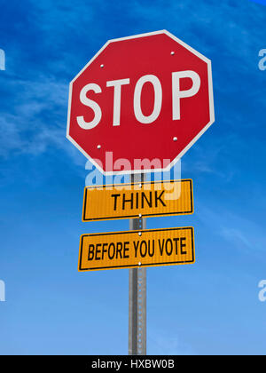 think before you vote stop sign over blue sky, 3D rendering - Stock Image