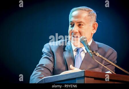 JERUSALEM, ISRAEL. June 14, 2016. Prime minister of Israel Benjamin Netanyahu giving an address at the Channel 9 'People of the Year 2016' ceremony. - Stock Image