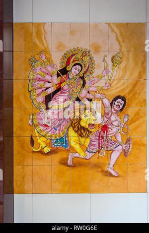 Durga Warrior Goddess in Wall Tile Decoration, Sri Mahamariamman Hindu Temple, Kuala Lumpur, Malaysia. - Stock Image