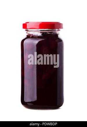 Cherry jam jar popular fruit conserve isolated on white background - Stock Image