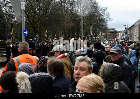 Stoke-on-Trent, Staffordshire, UK. 4th Mar 2019. Gordon Banks funeral in Stoke-on-Trent Credit: JONATHAN AYRES/Alamy Live News - Stock Image