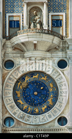 Astrological clock in Venice - Stock Image