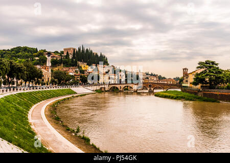 Castel San Pietro and Ponte Pietra in Verona, Italy - Stock Image