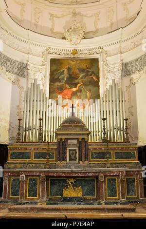 Italy Sicily Agrigento Piazza Purgatorio Chiesa di San Lorenzo rebuilt 1600s famed statues sculptures Christian Virtues main apse altar organ marble - Stock Image