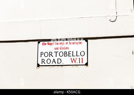 Portobello Road London, Portobello Road sign, Portobello Road London UK, Portobello Road W11, Portobello Road, London road, london roads, London UK - Stock Image
