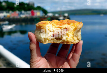 Cheese and ham quiche from Tobermory Bakery, Isle of Mull - Stock Image