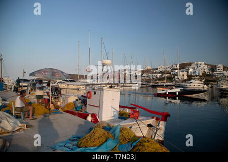 Greece, Cyclades islands, Kythnos, Loutra Harbour - Stock Image