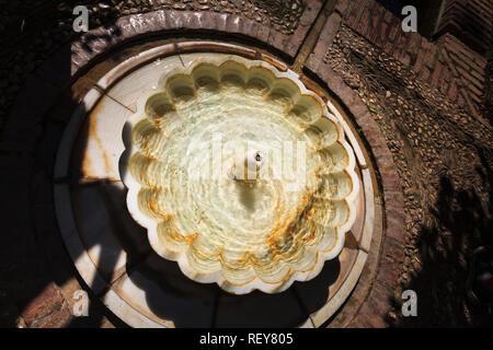 Fountain in the Patio de la Acequia, The Palacio de Generalife, La Alhambra, Granada Spain - Stock Image