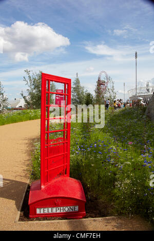 Phone box sculpture at Olympic Park, London 2012 Olympic Games site, Stratford London E20 UK, - Stock Image