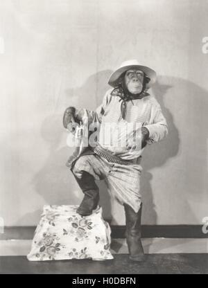 Monkey dressed up like a cowboy - Stock Image