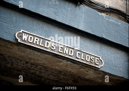 We are all doomed! a sign for Worlds End Close along the Royal Mile in Edinburgh - Stock Image