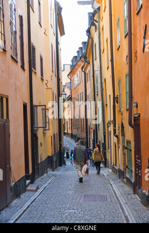 Prastgatan in the Old Town of Stockholm, Sweden - Stock Image