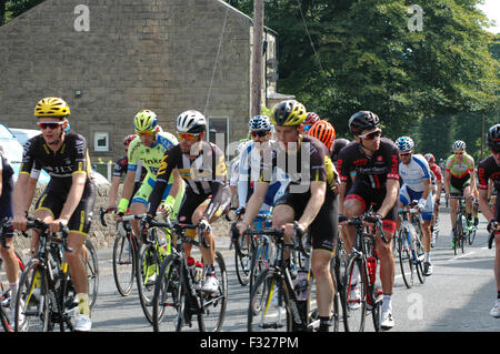 Cyclists in Tour of Britain in Buxton - Stock Image