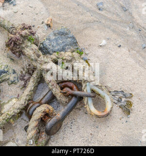 Old and rusty mooring chains. - Stock Image