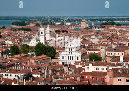 View looking east from St Marks Bell Tower Venice Italy with Chiesa di San Zaccaria in centre to its left the Greek - Stock Image