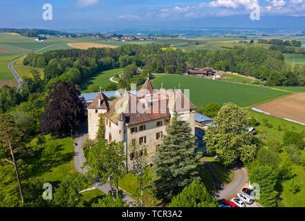 Castle St Barthelemy, Chateau de Saint-Barthelemy, Saint-Barthelemy, Vaud, Switzerland - Stock Image