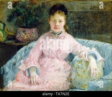 Berthe Morisot, The Pink Dress, portrait painting of Albertie-Marguerite Carré, later Madame Ferdinand-Henri Himmes, (1854–1935), c. 1870 - Stock Image