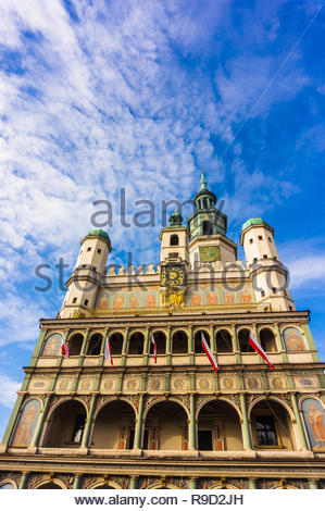 Poznan, Poland - November 12, 2018: Top of the historic city hall building on the old square.  - Stock Image