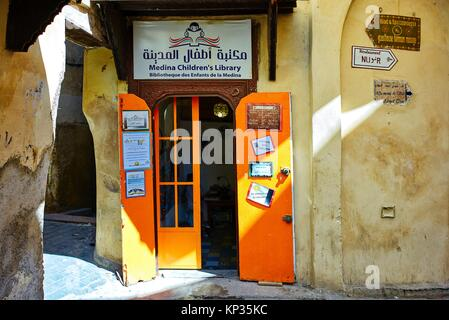 Medina Children´s library in Fez old city, Morocco - Stock Image
