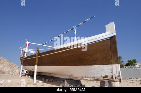 Dhow on display at Bu Maher Fort, Muharraq, Kingdom of Bahrain - Stock Image