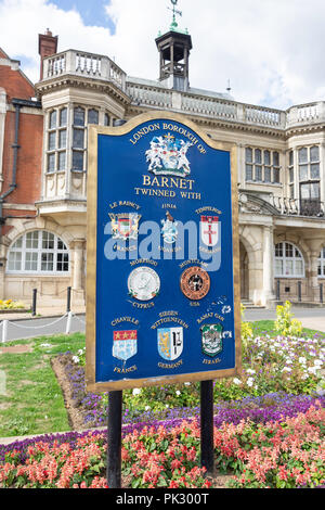 Twinned international towns sign, Hendon Town Hall, The Burroughs, Hendon, London Borough of Barnet, Greater London, England, United Kingdom - Stock Image