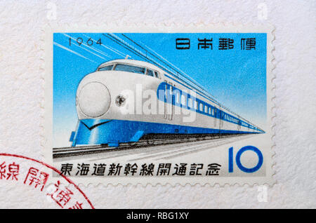 Japanese postage stamp on First Day Cover (1964) - Opening of the new Tokaido railway line - Stock Image