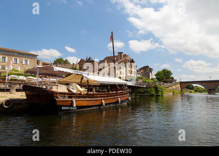 A Gabarre or traditional boat on the Dordogne river at Bergerac for tourist boat trips; Bergerac, Dordogne, France Europe - Stock Image