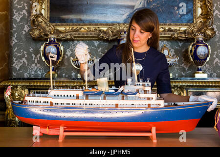 *** EMBARGOED to 00:01 BST, FRIDAY, 21 JULY 2017 *** Pictured: A model of HMY Britannia, made on the island of Bequia, - Stock Image