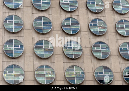 Circular widows of the BC Cancer Research Centre building in Vancouver, BC, Canada - Stock Image