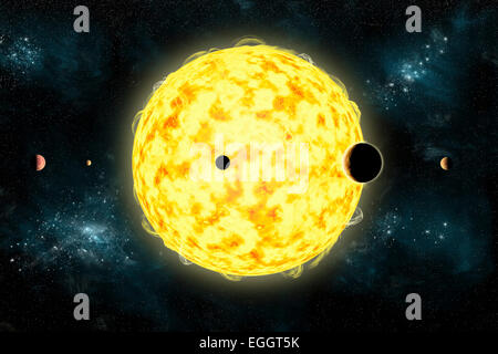 Artist's concept of Kepler 444. It is currently the oldest known planetary system in our galaxy. All five planets - Stock Image