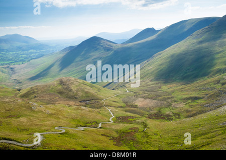 Looking towards Pudding Beck from Coledale Hause in the Lake District - Stock Image
