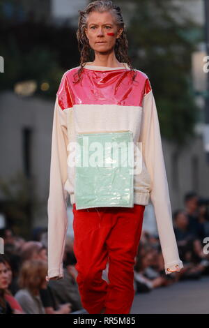 Montreal,Canada.  A model walks on the runway at the Yung_Alexander fashion show held during the Fashion and Design Festival. - Stock Image