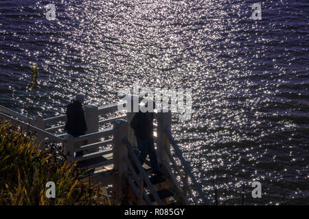 Jacobs Ladder above the west beach at Sidmouth, Devon. - Stock Image