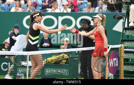 Eastbourne, UK. 23rd June 2019.  Johanna Konta (left) of Great Britain celebrates after defeating Dayana Yastremska of Ukraine in their first round match at the Nature Valley International tennis tournament held at Devonshire Park in Eastbourne . Credit : Simon Dack / TPI / Alamy Live News - Stock Image