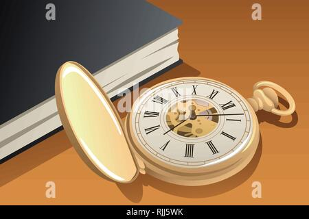 A vector illustration of Antique Gold Pocket Watch - Stock Image