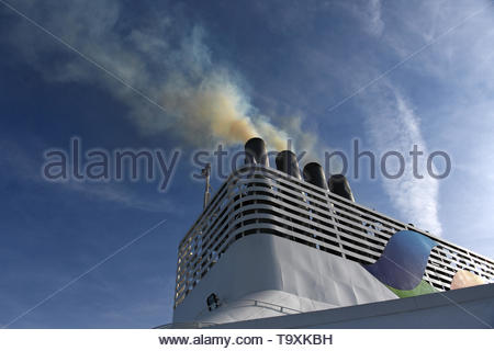 Brittany Ferry - Normandie diesel fumes, smoke as the engines start. - Stock Image