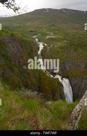 norway voringfossen green valley panorama view, voringfossen waterfalls in hardanger eidfjord view from the top a big tourist attraction in norway - Stock Image