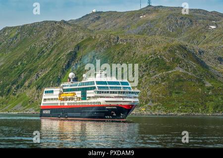 Hurtigruten Ferry Arriving At Honningsvag, Norway - Stock Image