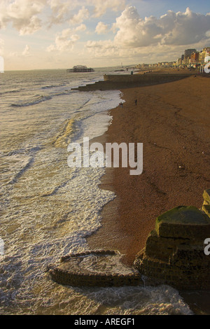 Brighton Beach and Old Pier Sussex, England, UK - Stock Image