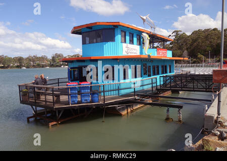 Skippers seafood eatery, a floating restaurant at St Helens, Tasmania, Australia. No PR or MR - Stock Image