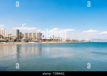 Benalmadena Spain. Coastal view of Benalmadena costa, with hotels and apartment blocks, Costa del Sol, Andalusia, Spain. - Stock Image