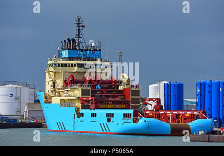 The Maersk Inventor oil support vessel at her berth in Aberdeen harbour before sailing out to the platforms in the North Sea. - Stock Image